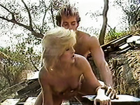 Bitchy Blond Head Tramp Gets Turbulently Doggy Pose Drilled Outdoors