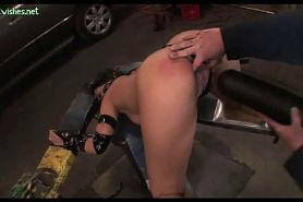 Chained Babe Gets Black Toy Inside