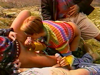 Magnificent Vintage Style Blonde Milf Enjoys Gangbang Outdoors